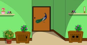 Дверь с павлином