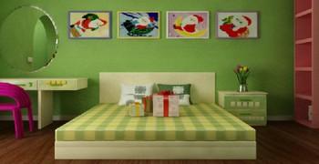 Зелёная новогодняя комната