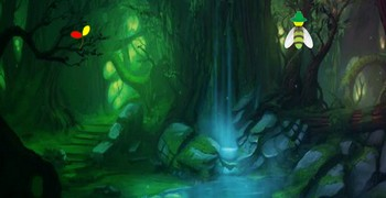 Тёмно-зелёный фэнтези лес