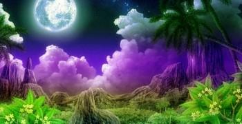 Ночная лунная долина с мухами